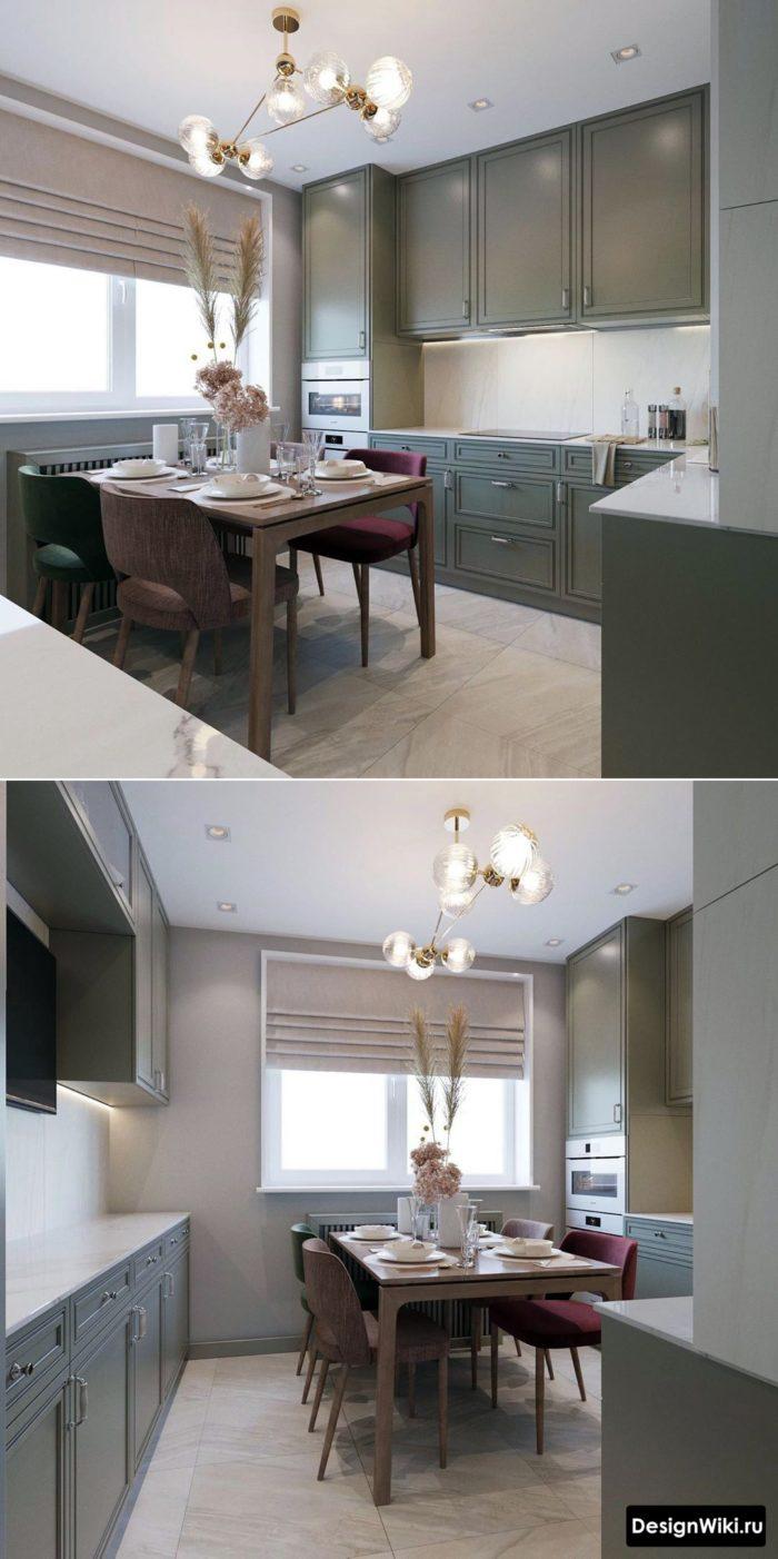 дизайн угловой кухни 12 кв м в стиле неоклассика