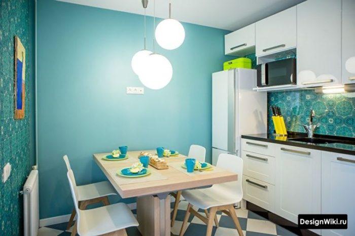 интерьер квадратной кухни без дивана 10 кв м