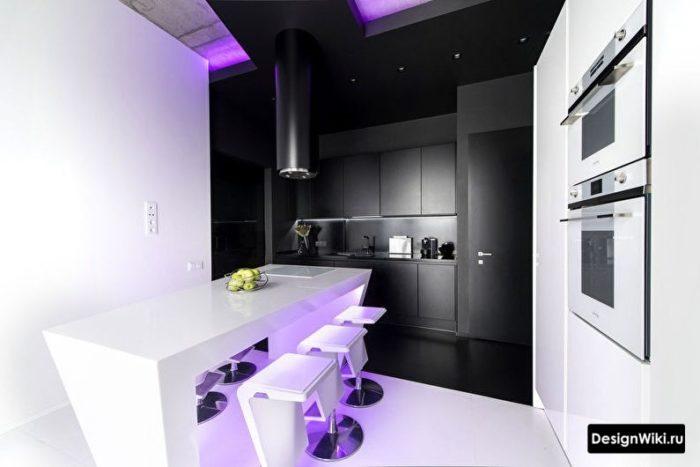 кухни в стиле хай тек белого цвета