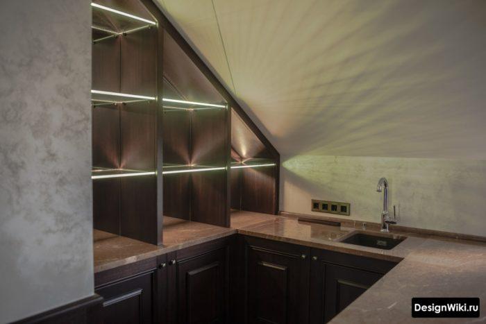 кухни хайтек со скрытым современным освещением
