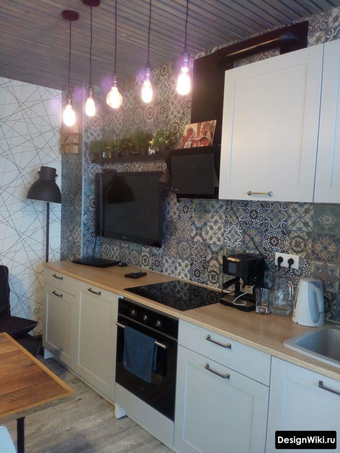кухни 10 кв.м. с плиткой пэчворк