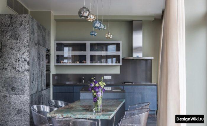 кухня гостиная в стиле хай тек дизайн