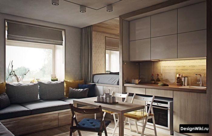 кухня со спальным местом 12 кв м