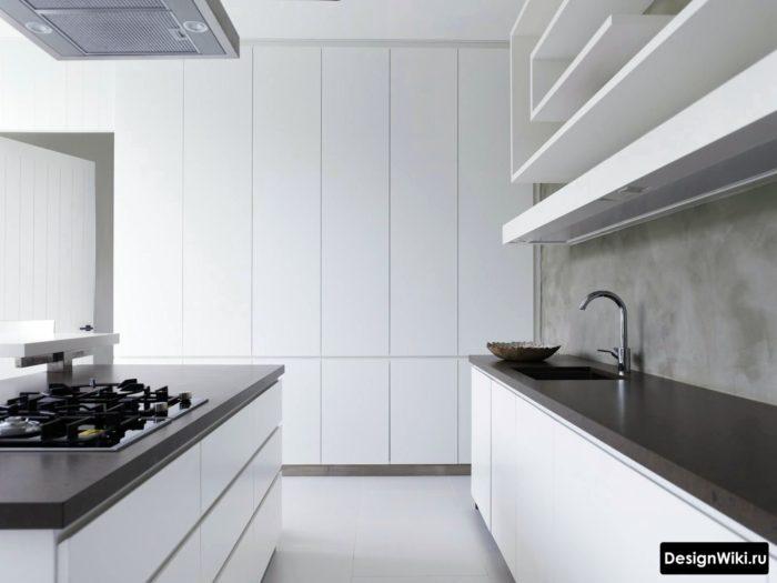 кухня хай тек белая с черной столешницей