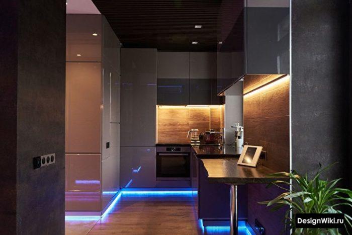 кухня хай тек дизайн в темном цвете