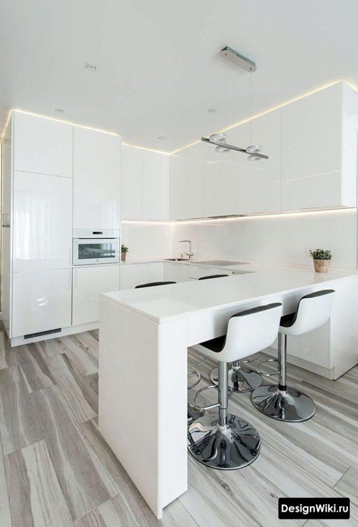 кухня хай тек дизайн угловая