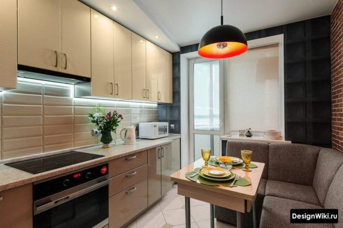кухня 10 кв метров с диваном и телевизором