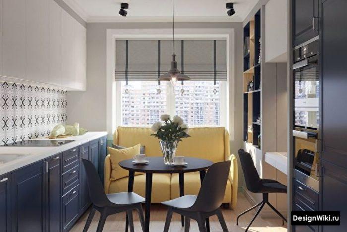 кухня 10 кв м дизайн с диваном