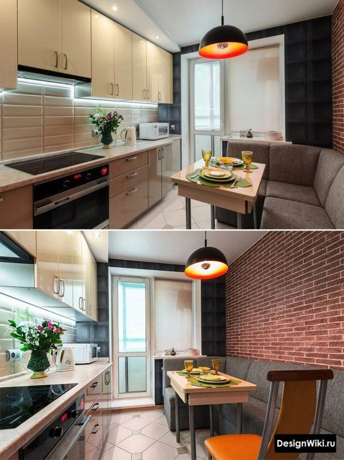 кухня 12 кв метров с балконом