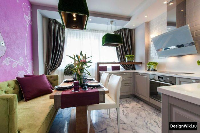 кухня 12 кв метров с диваном и балконом