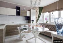 кухня 12 кв метров с диваном у окна