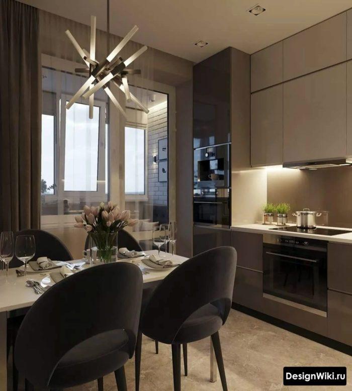 кухня 12 кв метров с диваном