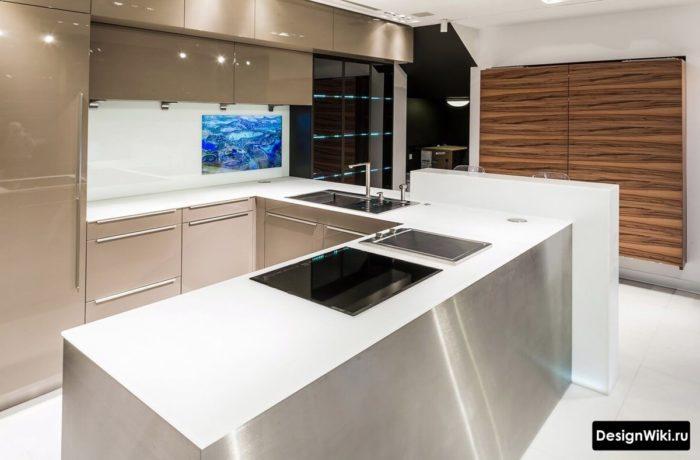 мебель для кухни стиле хай тек
