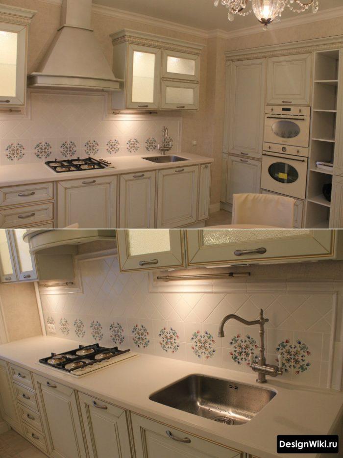 планировка кухни 10 кв м в белом