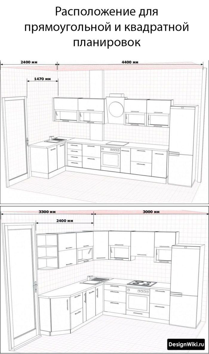 планировка кухни 10 м2 для квадратной и прямоугольной