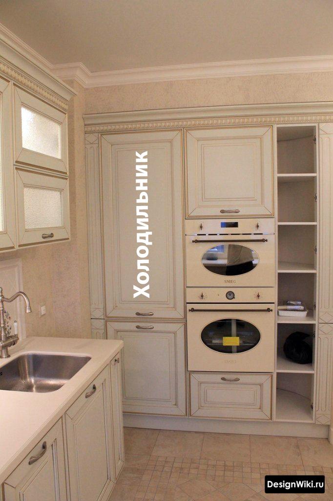 проект кухни 12 кв м с холодильником в углу