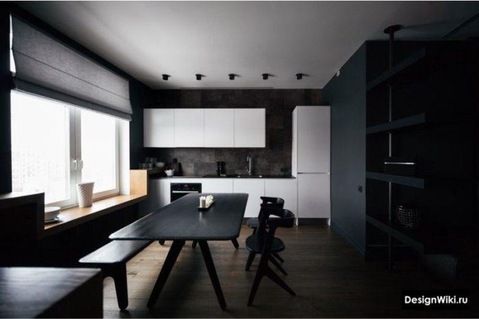 серые шторы на кухне в стиле хай тек минимализм