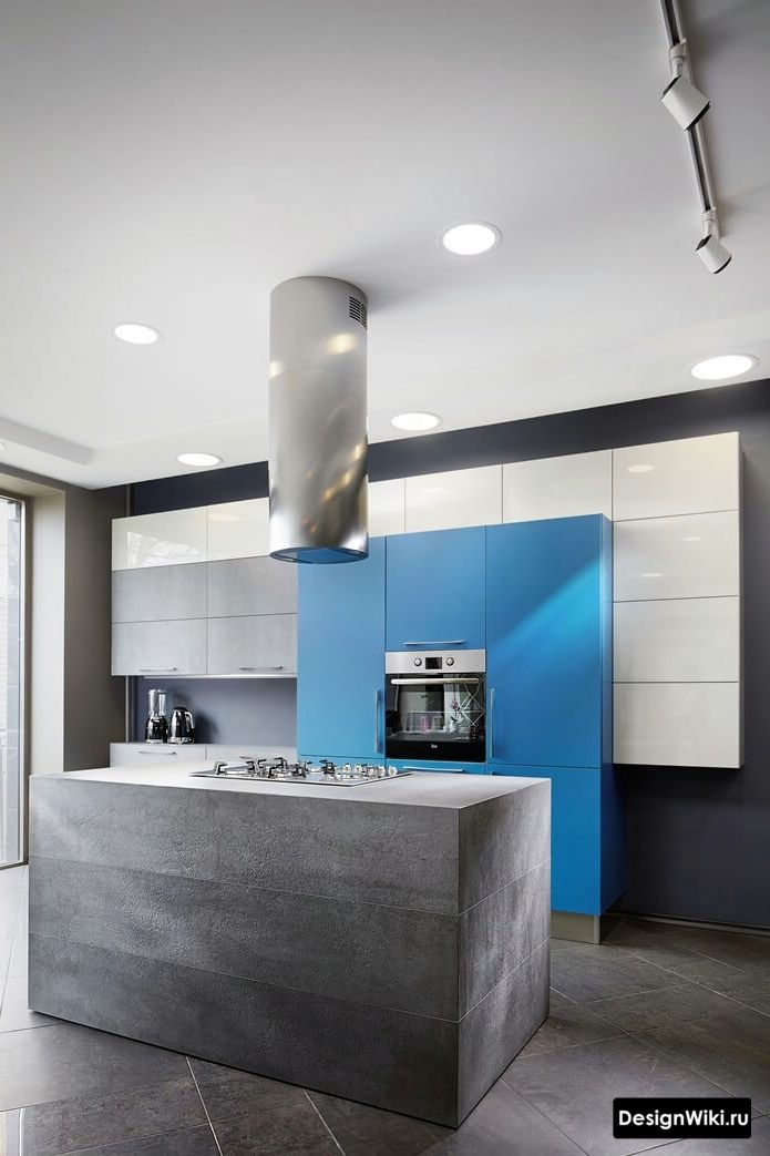 синяя кухня хай тек минимализм