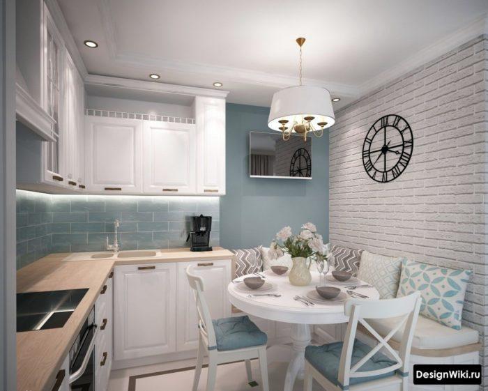 современный дизайн кухни 10 м2 с диваном