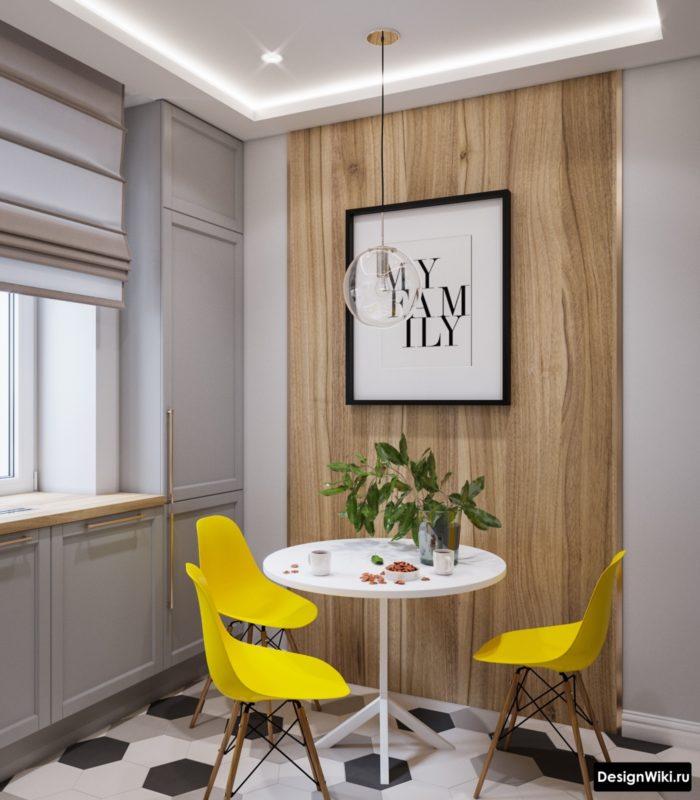 дизайн кухни гостиной в сером цвете