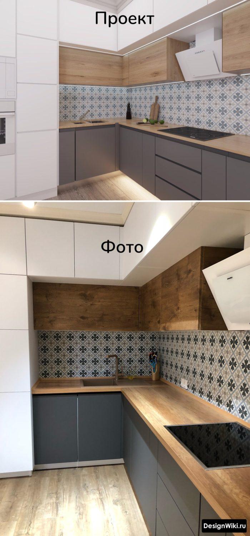 дизайн серой кухни деревянной столешницей