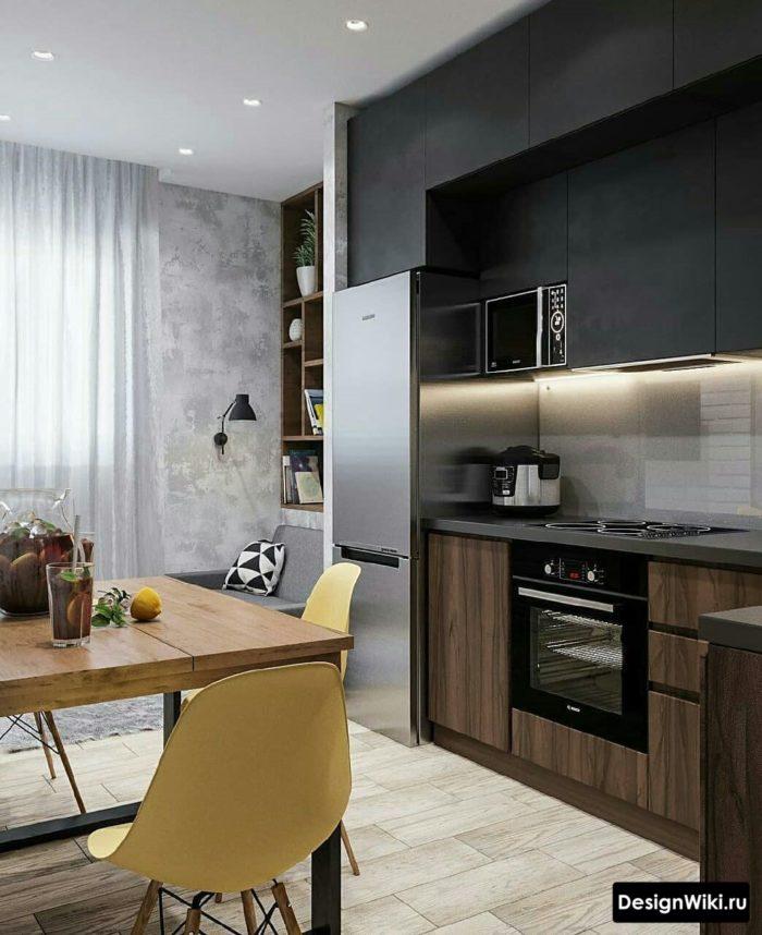 кухня в сером цвете дизайн