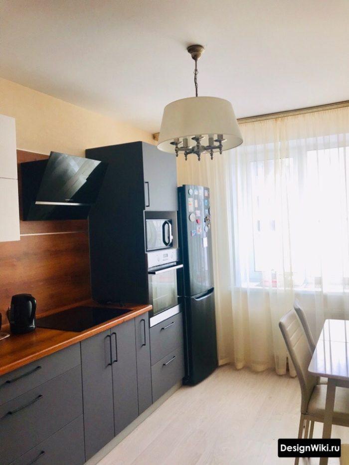 кухня в серо голубых тонах дизайн