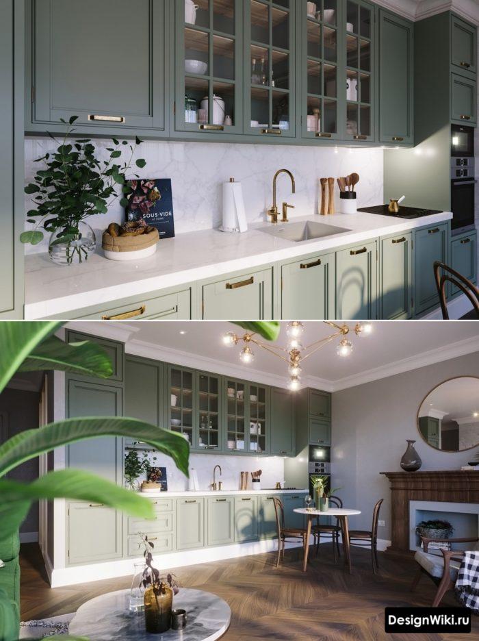 кухня в серых тонах дизайн с яркими оттенками