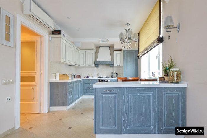 кухня серая-голубая матовая