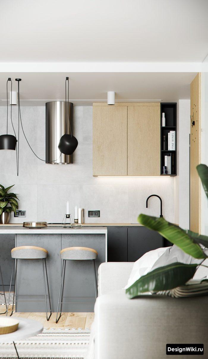 кухня серая матовая современная
