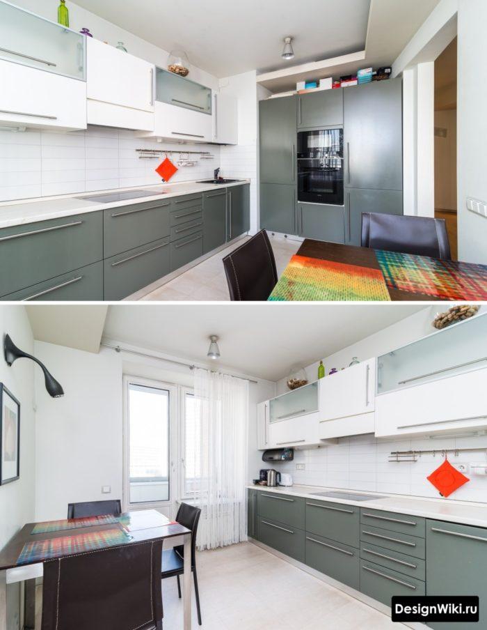 кухня серо голубая дизайн
