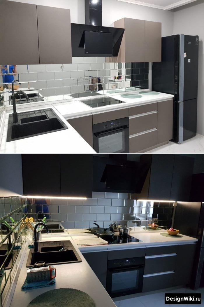 серая кухня в стиле лофт