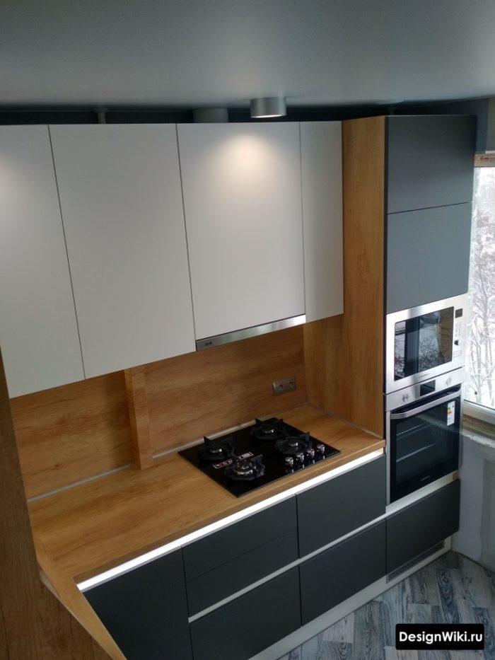 серая кухня дизайн