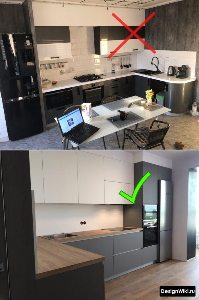 серая кухня с белым и черным сочетание