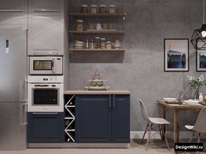 серая кухня с серыми обоями