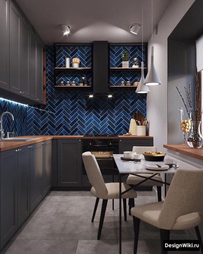 серая с синим кухня в скандинавском стиле