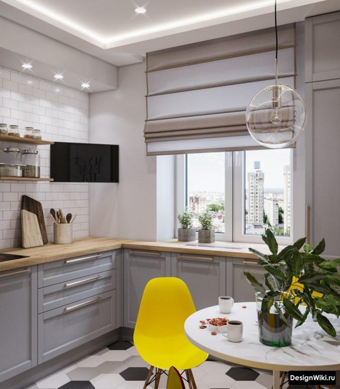 серо бежевый цвет в интерьере кухни