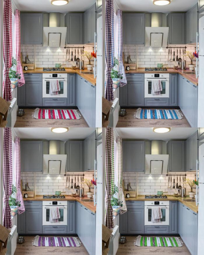 серо красная голубая фиолетовая и зеленая кухни