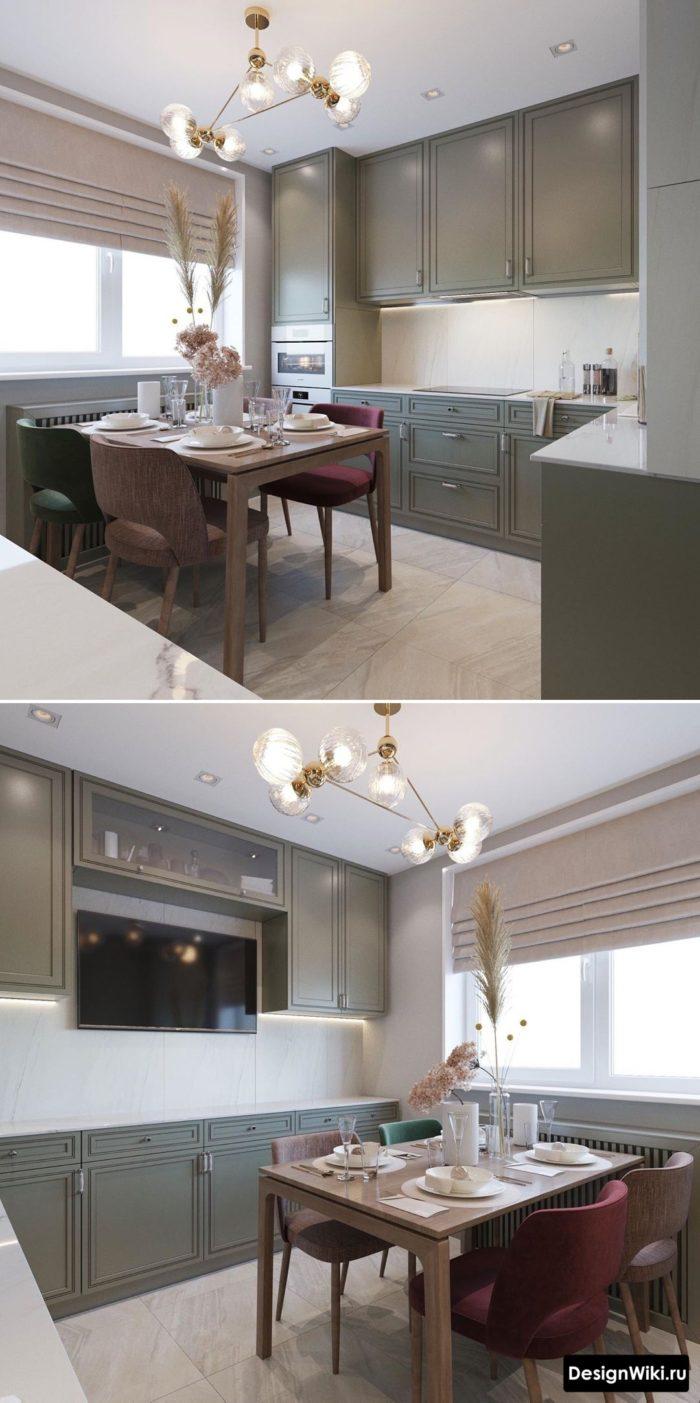 серо оливковый цвет в интерьере кухни