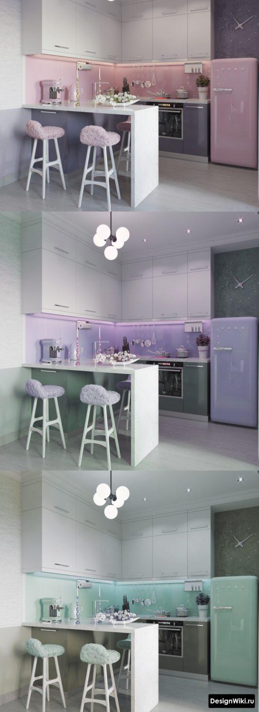 серо-розовая и серо-бирюзовая кухня