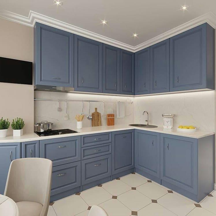 серо-синяя матовая кухня