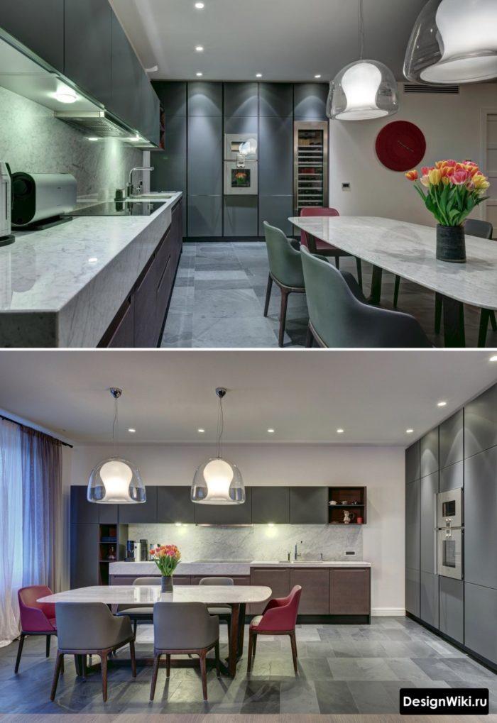 серые кухни в интерьере реальные