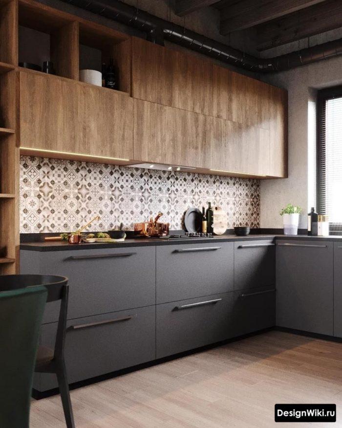 серые обои кухне какие шторы