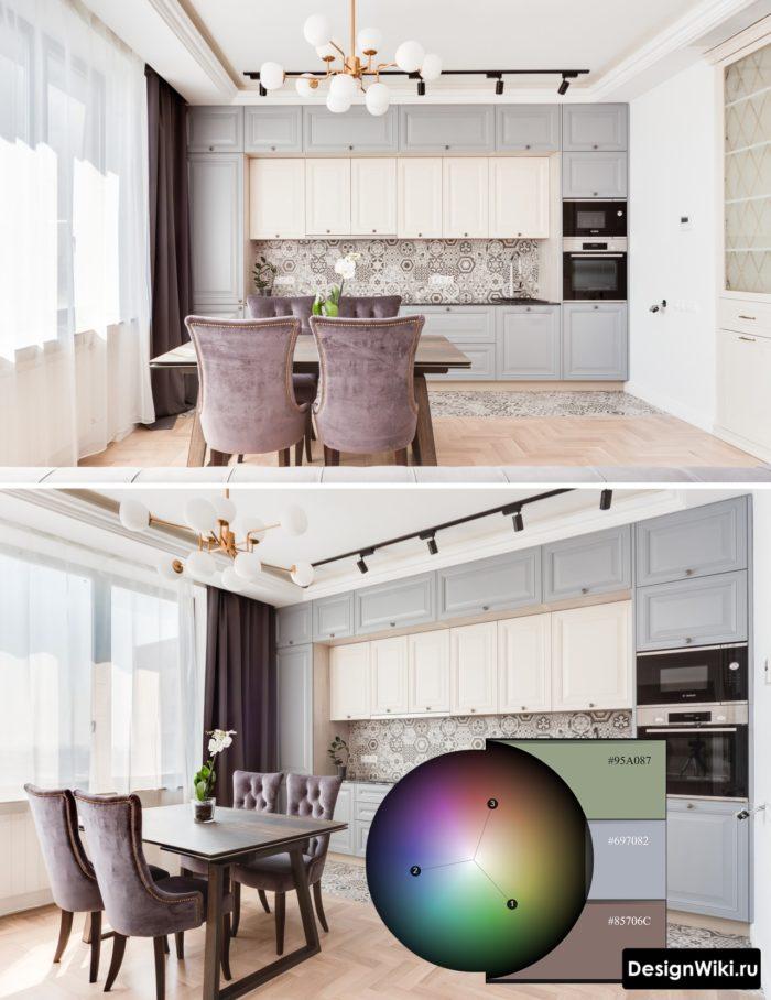 сочетание серого цвета с другими цветами в интерьере кухни