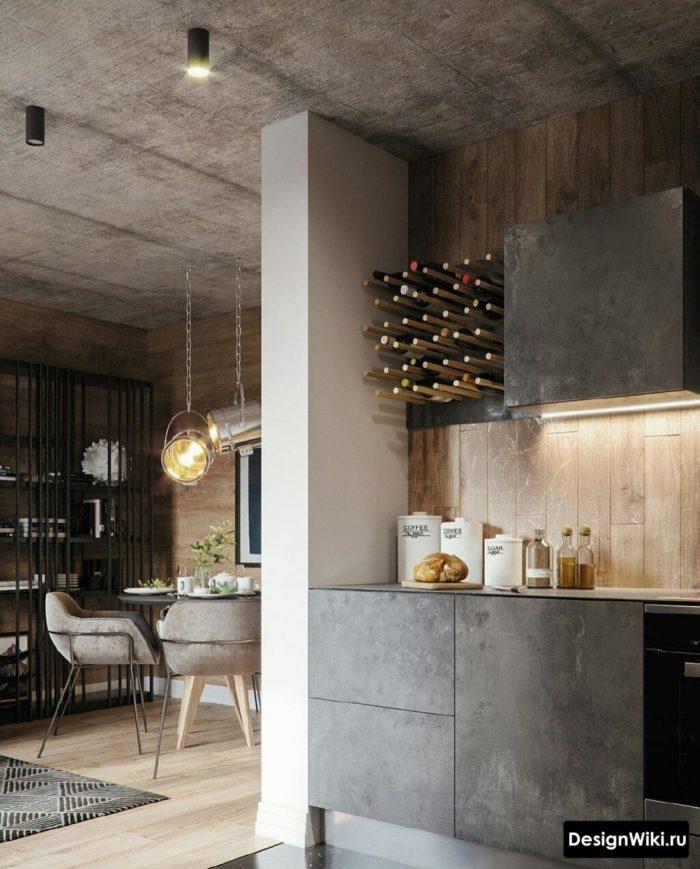 шторы на кухню серые стены